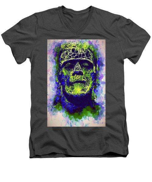 Frankenstein Watercolor Men's V-Neck T-Shirt