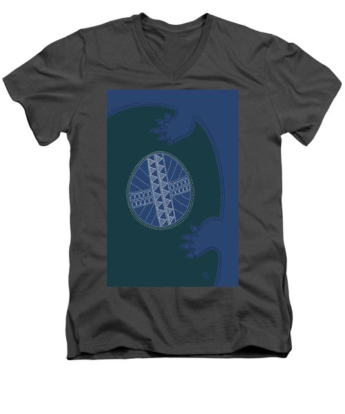 Men's V-Neck T-Shirt featuring the digital art Crocodile Egg by Attila Meszlenyi