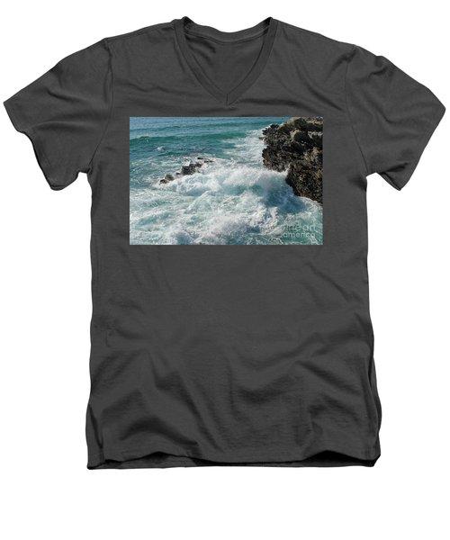 Crushing Waves In Porto Covo Men's V-Neck T-Shirt