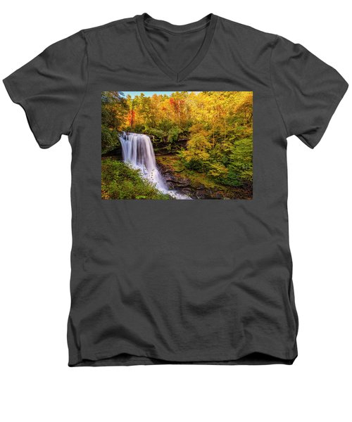 Men's V-Neck T-Shirt featuring the photograph Cullasaja Falls In Full Bloom by Andy Crawford