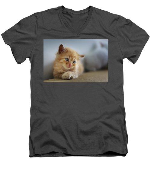 Cute Orange Kitty Men's V-Neck T-Shirt