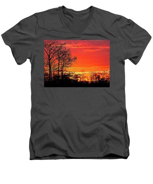 Cypress Swamp Sunset 2 Men's V-Neck T-Shirt