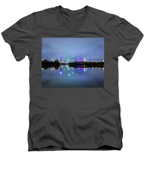 Dallas Cityscape Reflection Men's V-Neck T-Shirt
