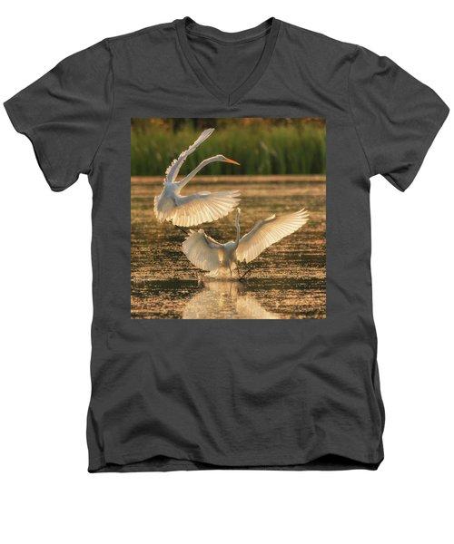 Dancing Egrets  Men's V-Neck T-Shirt
