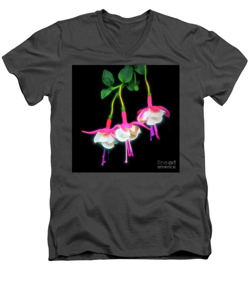 Dancing Fuchsia Abstract Men's V-Neck T-Shirt