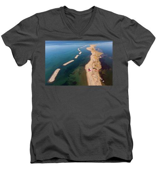 Dashed Line Men's V-Neck T-Shirt