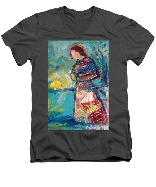 Men's V-Neck T-Shirt featuring the painting Daybreak by Deborah Nell