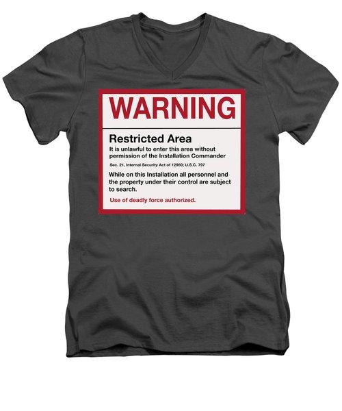 Deadly Force Warning Sign Men's V-Neck T-Shirt