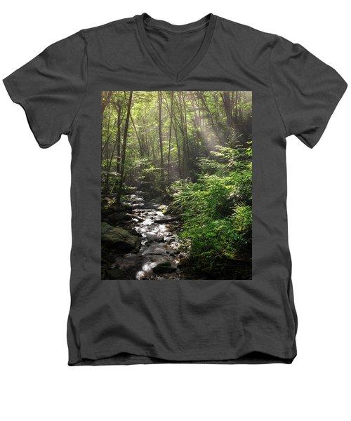 Deep In The Forrest - Sun Rays Men's V-Neck T-Shirt