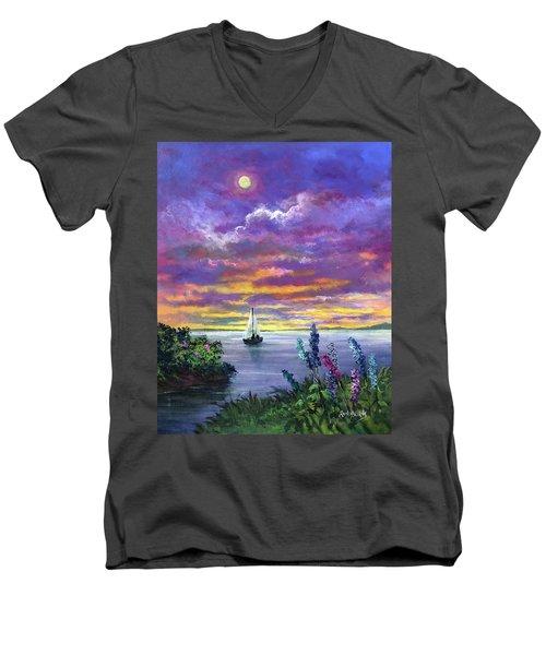 Delphinium Dreams Men's V-Neck T-Shirt