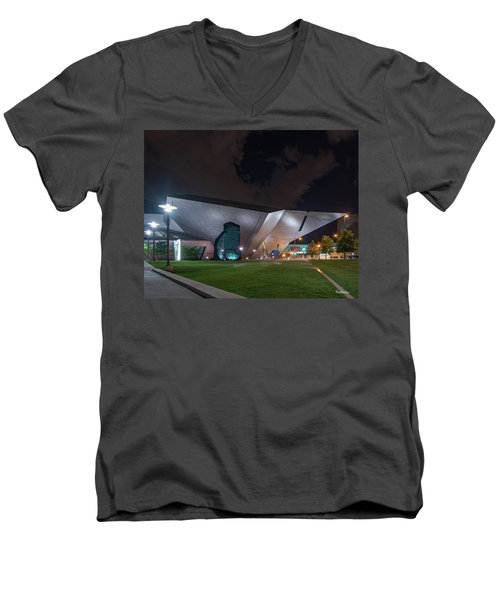 Men's V-Neck T-Shirt featuring the photograph Denver Art At Night by Tim Kathka