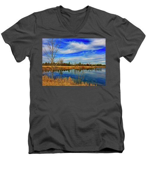 Men's V-Neck T-Shirt featuring the photograph Depoorter Lake by Dan Miller