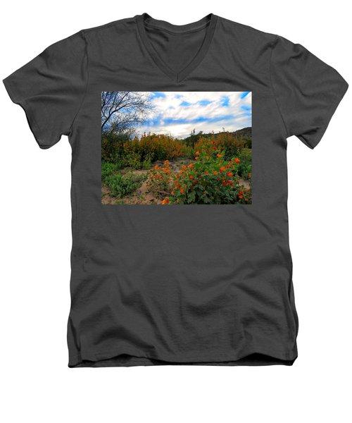 Desert Wildflowers In The Valley Men's V-Neck T-Shirt