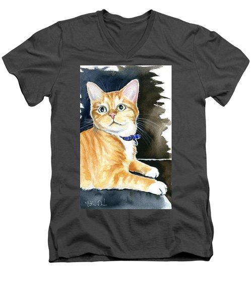 Diego Ginger Tabby Cat Painting Men's V-Neck T-Shirt