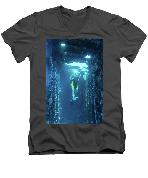 Diver In The Patris Shipwreck Men's V-Neck T-Shirt