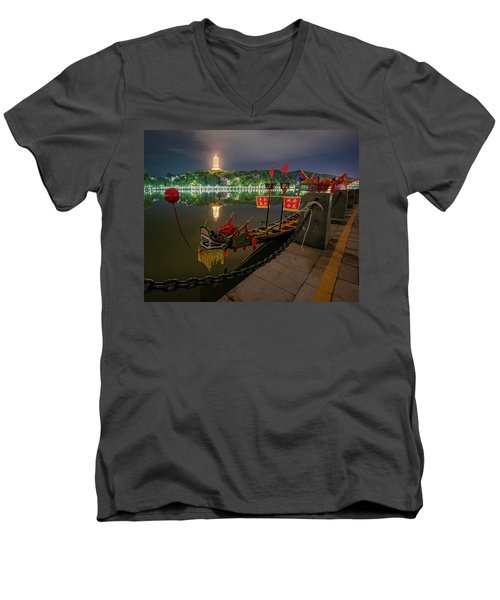 Docked Dragon Boat At Night I Men's V-Neck T-Shirt