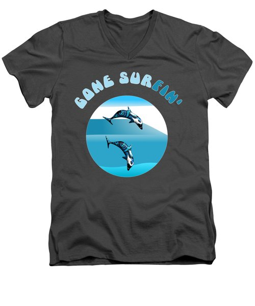 Dolphins Surfing With Text Gone Surfing Men's V-Neck T-Shirt