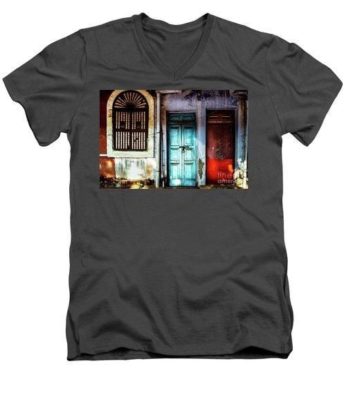 Doors Of India - Blue Door And Red Door Men's V-Neck T-Shirt