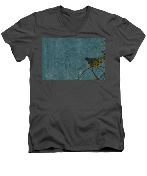 Men's V-Neck T-Shirt featuring the photograph Dove In Blue by Attila Meszlenyi