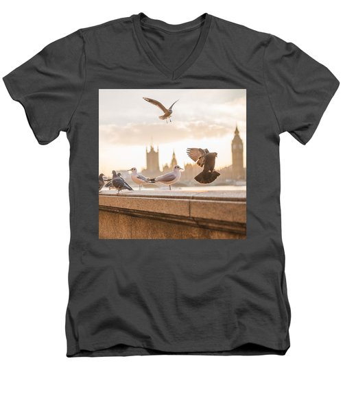 Doves And Seagulls Over The Thames In London Men's V-Neck T-Shirt