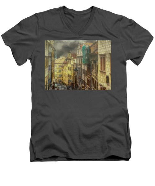 Downhill, Downtown, Prague Men's V-Neck T-Shirt