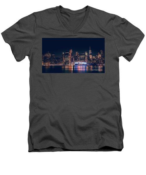 Downtown At Night Men's V-Neck T-Shirt