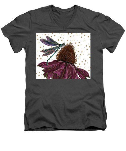 Dragon Fly And Echinacea Flower Men's V-Neck T-Shirt