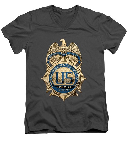 Drug Enforcement Administration -  D E A  Special Agent Badge Over Blue Velvet Men's V-Neck T-Shirt