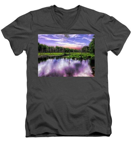 Dusk Falls Over New England Beaver Pond. Men's V-Neck T-Shirt