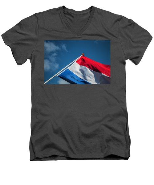 Men's V-Neck T-Shirt featuring the photograph Dutch Flag by Anjo Ten Kate