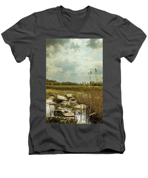 Men's V-Neck T-Shirt featuring the photograph Dutch Landscape. by Anjo Ten Kate