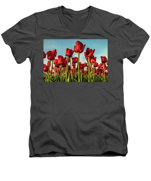 Men's V-Neck T-Shirt featuring the photograph Dutch Red Tulip Field. by Anjo Ten Kate