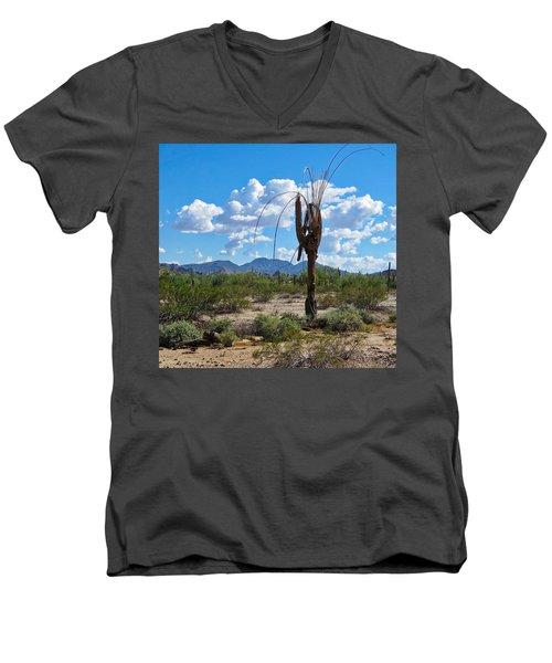 Dying Saguaro In The Desert Men's V-Neck T-Shirt