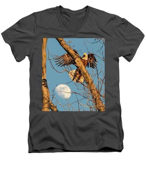 Eagle And Moon  Men's V-Neck T-Shirt