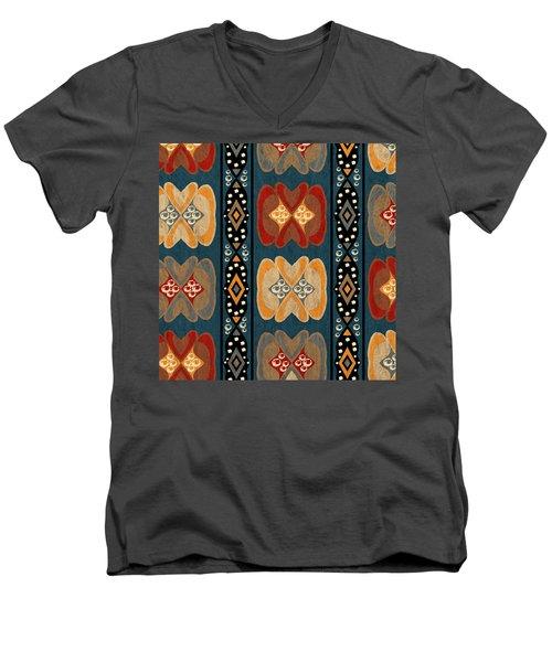 East African Heart And Diamond Stripe Pattern Men's V-Neck T-Shirt