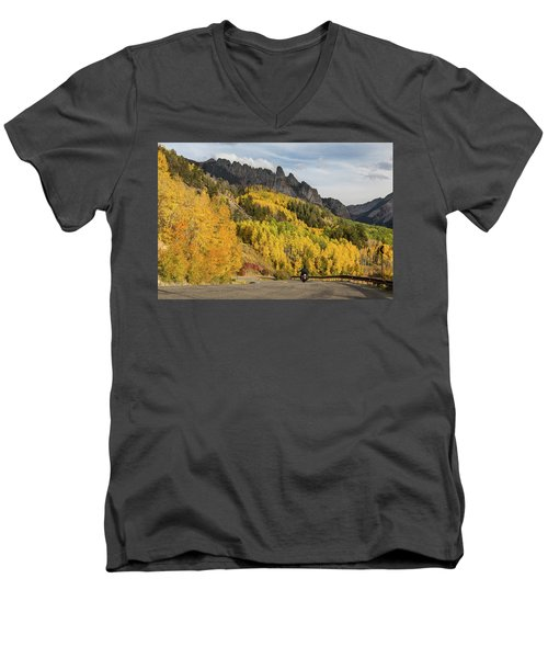 Men's V-Neck T-Shirt featuring the photograph Easy Autumn Rider by James BO Insogna