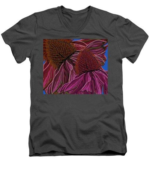 Echinacea Flower Blues Men's V-Neck T-Shirt