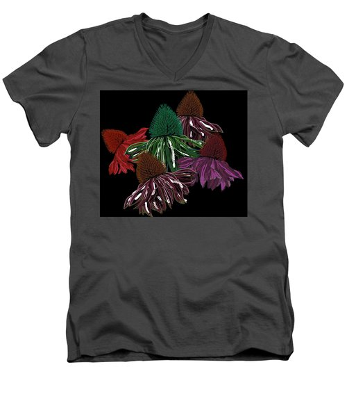 Echinacea Flowers With Black Men's V-Neck T-Shirt