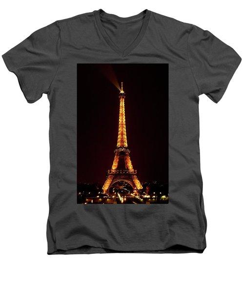 Eiffel Tower, Night Men's V-Neck T-Shirt