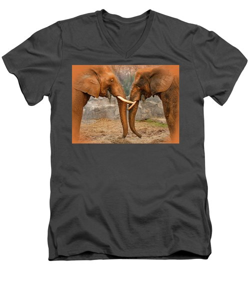 Elephants  Men's V-Neck T-Shirt