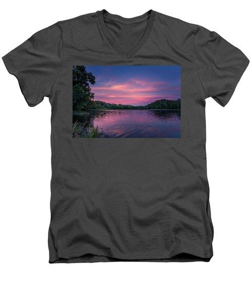 Evening At Springfield Lake Men's V-Neck T-Shirt