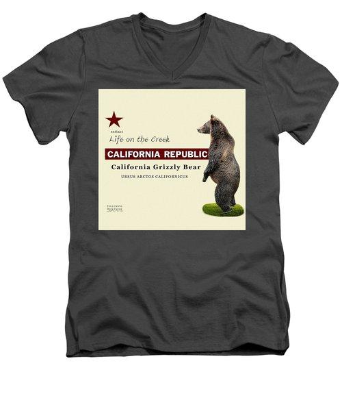 Extinct California Grizzly Bear Men's V-Neck T-Shirt