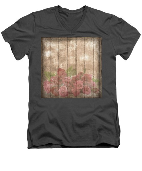 Faded Red Country Roses On Wood Men's V-Neck T-Shirt