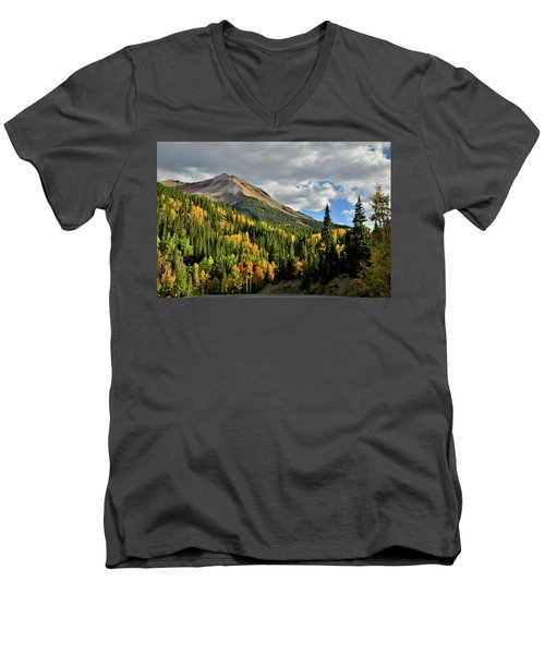 Fall Color Aspens Beneath Red Mountain Men's V-Neck T-Shirt