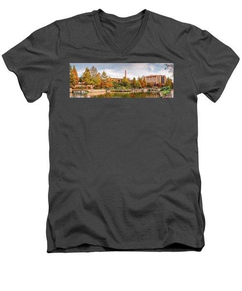 Fall Panorama Of Pearl Brewery, Hotel Emma, And San Antonio Riverwalk - Bexas County Texas Men's V-Neck T-Shirt