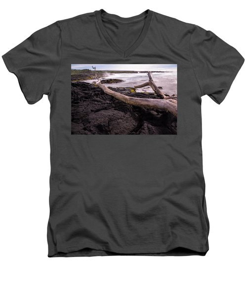 Fallen Tree At Punalu'u Beach Men's V-Neck T-Shirt