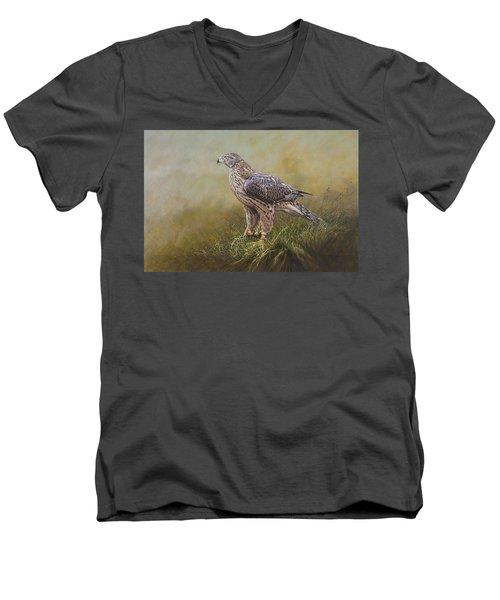 Female Goshawk Paintings Men's V-Neck T-Shirt