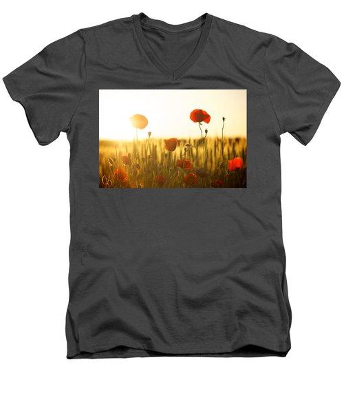 Field Of Poppies At Dawn Men's V-Neck T-Shirt