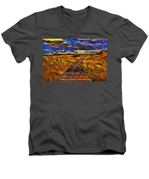 Men's V-Neck T-Shirt featuring the painting Fields Of Gold by Harry Warrick