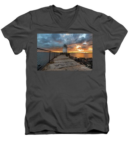 Fiery Skies At Bug Light Men's V-Neck T-Shirt